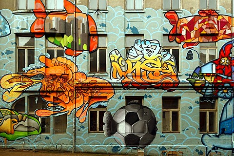 Graffiti on a vacant house, Zum Bahnhof, Schwerin, Mecklenburg-Western Pomerania, Germany, Europe - 832-168080