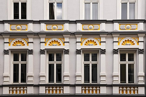 Detail of the restored facade of a neo-classical building, Mecklenburgstrasse, Schwerin, Mecklenburg-Western Pomerania, Germany, Europe