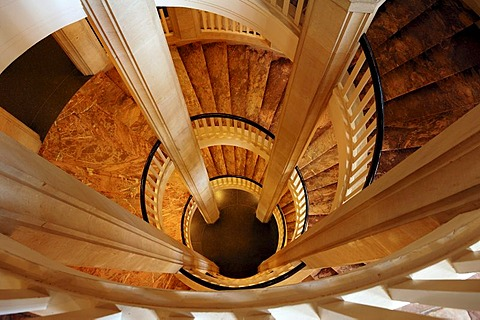 Staircase seen from above, Schweriner Schloss castle, built from 1845 to 1857, romantic historicism, Lennestrasse 1, Schwerin, Mecklenburg-Western Pomerania, Germany, Europe