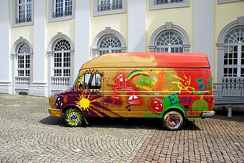Painted DAF car in front of an art gallery by Pawel Althamer, 'Fruehling' exhibition, Fridericianum Museum, Friedrichsplatz Square, Kassel, Hesse, Germany, Europe