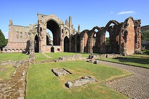 Ruins of the Cistercian abbey of Melrose, Scottish Borders, Scotland, United Kingdom, Europe