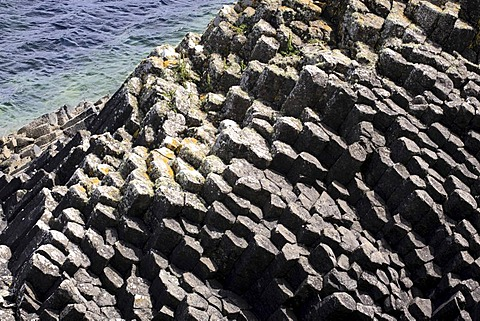 Basalt formations on Staffa island, Inner Hebrides island, Scotland, United Kingdom, Europe