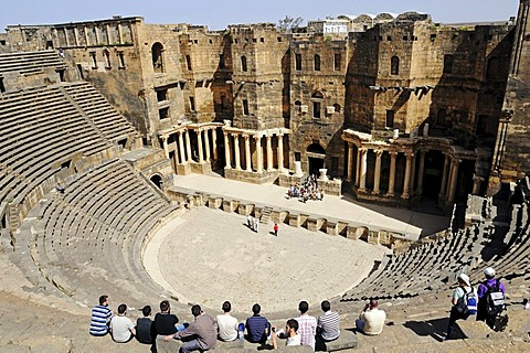 Auditorium, Roman theater with black basalt stones in Bosra, Syria, Asia