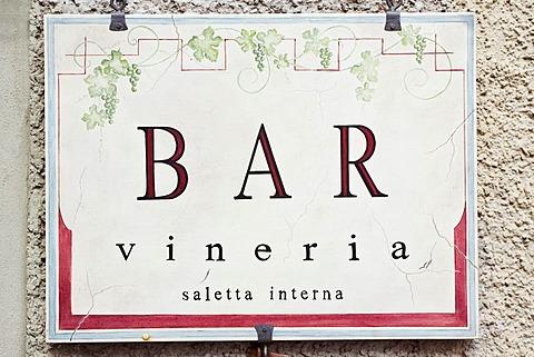 Bar, cafe, Vineria, sign, Radda in Chianti, Chianti, Tuscany, Italy, Europe