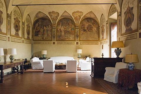Living room of the winery Badia di Coltibuono, Chianti, Tuscany, Italy, Europe