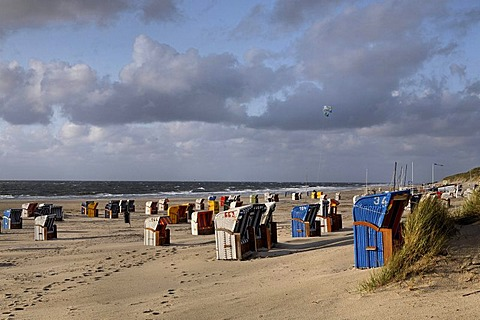 Roofed wicker beach chairs on the beach, island of Amrum, Schleswig-Holstein, Germany, Europe