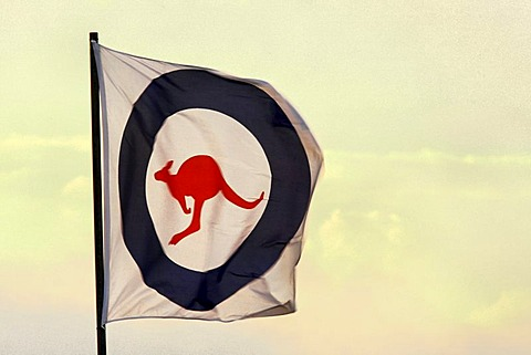 RAAF Royal Australian Airforce flag blowing in the wind