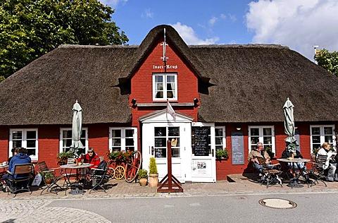 Cafe restaurant in Nebel, island of Amrum, Schleswig-Holstein, Germany, Europe