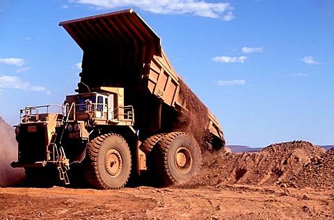 Haulpak truck, Hamersley iron ore mine, Tom Price, Pilbara, Western Australia, Australia