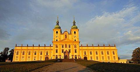 Panoramic view of frontal facade of the baroque Basilica Minor, Church of Visitation of Virgin Mary, at Svaty Kopecek near Olomouc, Czech Republic, Europe