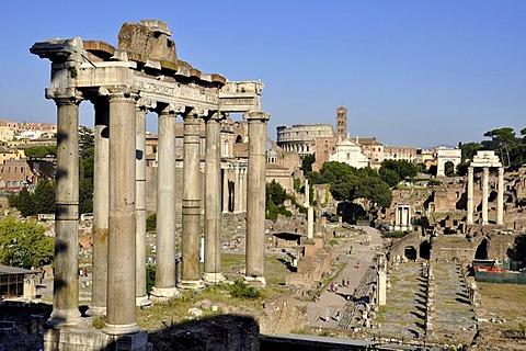 Pillars of the Temple of Saturn, Colosseum, Santa Francesca Romana, Temple of Vesta, Arch of Titus, Temple of Castor and Pollux, Forum Romanum, Roman Forum, Rome, Lazio, Italy, EuropeEurope
