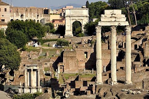 Temple of Vesta, Arch of Titus, Temple of Castor and Pollux, Forum Romanum, Roman Forum, Rome, Lazio, Italy, EuropeEurope