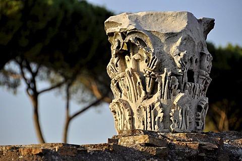 Pillar capitals, Domus Flavia, Palatine Hill, Rome, Lazio, Italy, Europe
