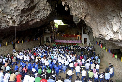 Event of the Communist Party in the Cave of the Pathet Lao, Tham Sang Lot, Elephant Cave, Vieng Xai, Houaphan province, Laos, Southeast Asia, Asia