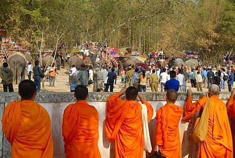 Theravada Buddhism, elephants and tourists, Buddhist monks watching parade, Elephant Festival, Ban Viengkeo, Hongsa, Xaignabouri Province, Sayaburi, Xayaburi or Sainyabuli, Laos, Southeast Asia, Asia
