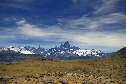 Mt. Fitz Roy and Mt. Cerro Torre, El Chalten, Andes, Patagonia, Argentina, South America