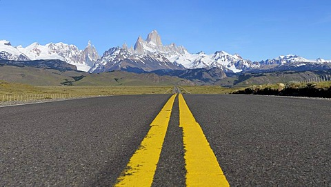 Street markings and the Andes, El Chalten, Patagonia, Argentina, South America