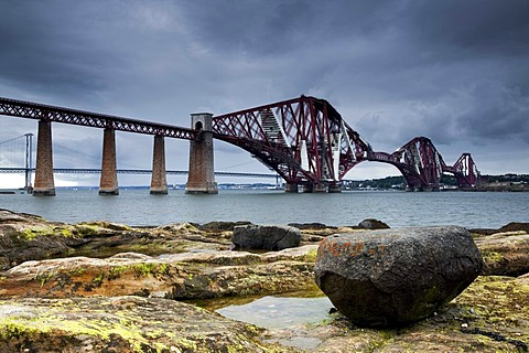 The Forth Railway Bridge in Queensferry, Scotland, United Kingdom, Europe
