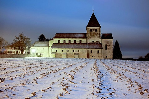 Church of St George on the wintery Reichenau island on Lake Constance, Baden-Wuerttemberg, Germany, Europe