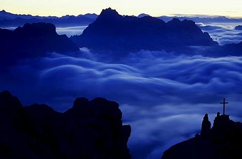 Sunrise over the mountain group Cristallo, Dolomites, Italy, Europe