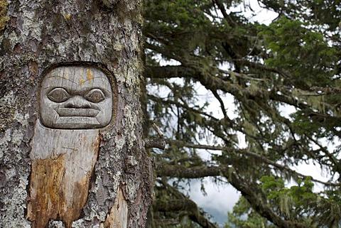 The Messenger or Sentry, tree carving, Tlingit Indians, Juneau, Southeast Alaska
