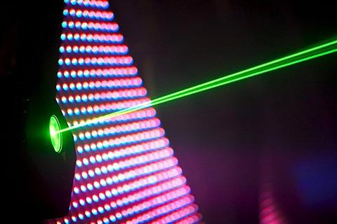 Laser beam, Winter World 2010, techno festival in Sports Hall Oberwerth, Koblenz, Rhineland-Palatinate, Germany, Europe
