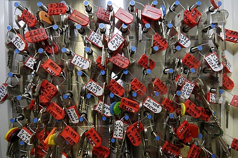 Key rack with front door keys from elderly people who are registered with the home care service of the German Red Cross in Koblenz, Rhineland-Palatinate, Germany, Europe