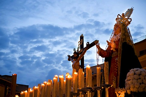 Mary and Christ crucified, Semana Santa, Holy Week, Palma de Majorca, Majorca, Balearic Islands, Spain, Europe - 832-173422