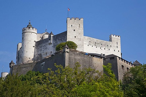 Festung Hohensalzburg fortress on Mt. Moenchsberg, Salzburg, Austria, Europe
