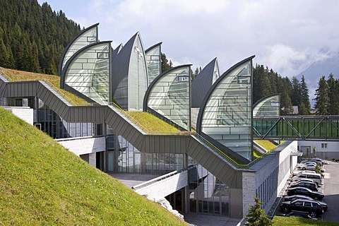 Bergoase spa of the Grand Hotel Tschuggen, architect Mario Botta, luxury hotel, Arosa, Graubuenden or Grisons, Switzerland, Europe