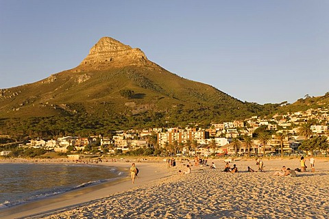 Beach of the Camps Bay suburb, Cape Town, Western Cape, South Africa, Africa