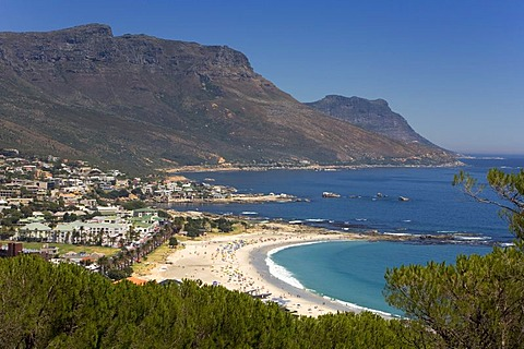 Beach of the Camps Bay suburb, Twelve Apostles mountains, Cape Town, Western Cape, South Africa, Africa