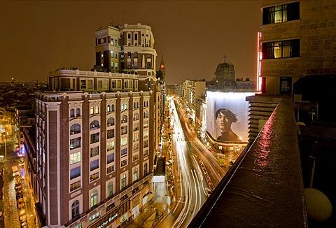 Gran Via at night, Madrid, Spain, Europe