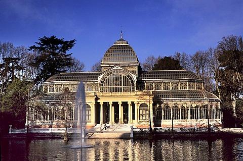 Crystal palace, Palacio de Cristal in Parque del Retiro, Madrid, Spain, Europe