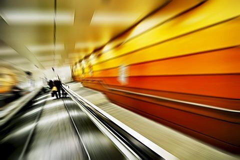 Escalator to the subway, Karlsplatz, Stachus, Munich, Bavaria, Germany, Europe