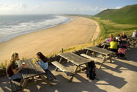 People in a panoramic garden restaurant, long sandy beach, Rhossili Beach, Gower Peninsula, Wales, United Kingdom, Europe