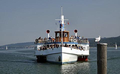 Excursion boat, Lake Ammer, Bavaria, Germany, Europe