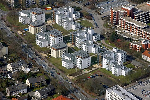 Aerial photo, Oer-Erkenschwick, high rise-buildings, city center, Ruhrgebiet region, North Rhine-Westphalia, Germany, Europe