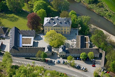 Aerial view, Ruhr river, Ruhr river valley, Ruhr meadows, Evangelische Akademie Protestant academy, Villigst, Schwerte, Ruhrgebiet region, North Rhine-Westphalia, Germany, Europe