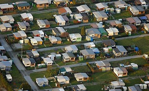 Aerial view, Kleingartenpark Friedhofstrasse allotments, KGV, Waltrop, Ruhrgebiet region, North Rhine-Westphalia, Germany, Europe