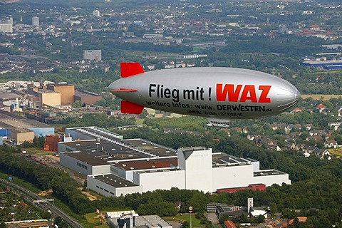 Aerial photo, Blimb, Zeppelin, Wattenscheid, Sevinghausen, Bochum, Ruhrgebiet region, North Rhine-Westphalia, Germany, Europe