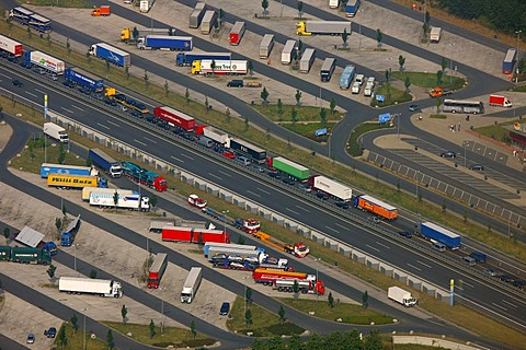 Aerial view, traffic jam on the A2 highway, truck parking lot, Hamm, Ruhrgebiet region, North Rhine-Westphalia, Germany, Europe