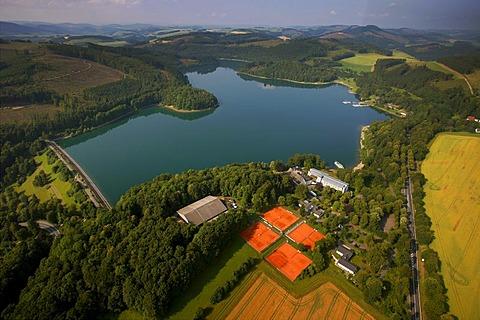 Aerial view, Hennesee lake, tennis courts, Berghausen, Meschede, Sauerland region, North Rhine-Westphalia, Germany, Europe