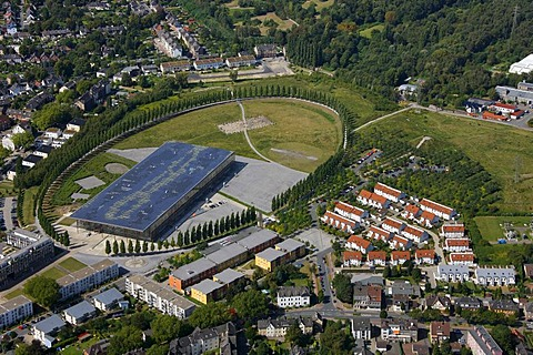 Aerial view, Solarakademie Mt. Cenis solar academy, Sodingen, solar panels, largest solar roof in Europe, Herne, Ruhrgebiet region, North Rhine-Westphalia, Germany, Europe