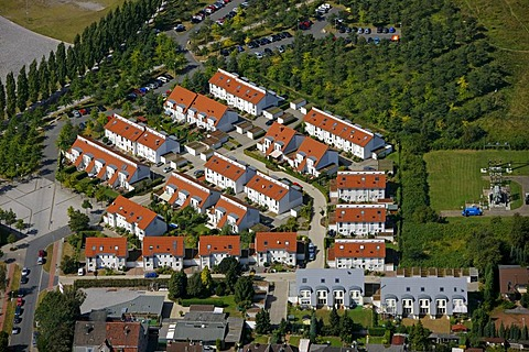 Aerial view, row house settlement, Herne, Ruhrgebiet region, North Rhine-Westphalia, Germany, Europe - 832-175440
