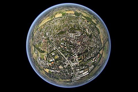 Aerial view, fisheye, Kamen, Ruhrgebiet region, North Rhine-Westphalia, Germany, Europe