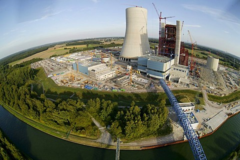 Aerial view, fisheye, EON Datteln 4 coal-fired power plant, power station construction site, building freeze, Emscher-Lippe, Datteln, Ruhrgebiet region, North Rhine-Westphalia, Germany, Europe