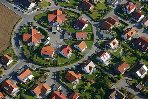 Aerial, settlement of detached houses, Ostbuederich, Werl, North Rhine-Westphalia, Germany, Europe