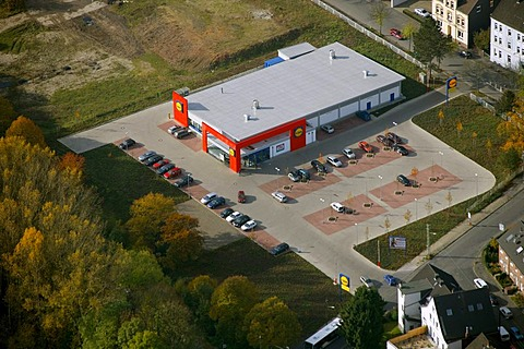 Aerial shot, Lidl supermarket, Weitmar, Bochum, Ruhr, North Rhine-Westphalia, Germany, Europe