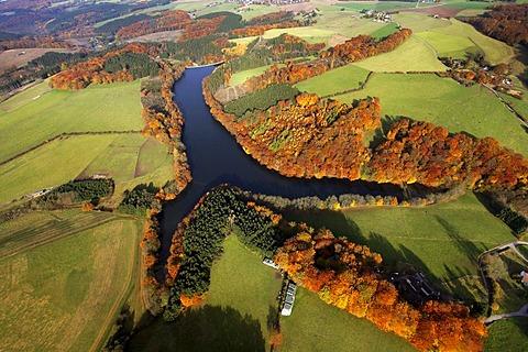 Aerial shot, autumn, Heilenbeck Dam, Ennepetal valley, Bergisches Land, Ruhr district, North Rhine-Westphalia, Germany, Europe